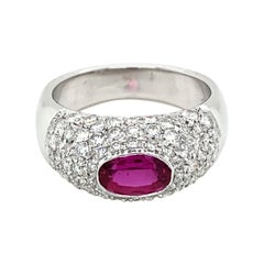 Estate Ruby Diamond Pavé Gold Band Ring