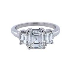 Platinum GIA Emerald Cut 2 Carat TW 3-Stone Genuine Natural Diamond Ring #J4938