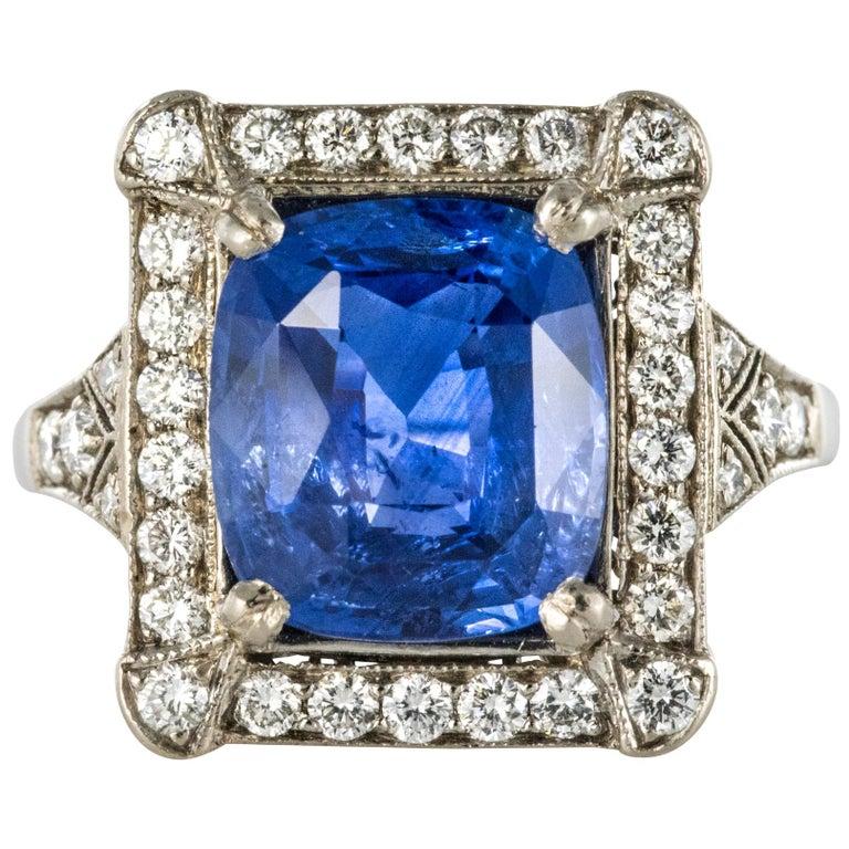 Art Deco Style French 5 Carat Ceylon Sapphire Diamond 18 Karat White Gold Ring For Sale