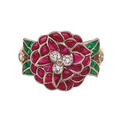 18k Gold Genuine Natural Ruby Flower Ring with Emeralds and Diamonds '#J4871'