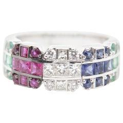 Diamond, Ruby, Emerald, Blue Sapphire Ring in 18 Karat Gold
