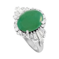 LB Exclusive Platinum 1.05 Ct Diamond and Jade Ring