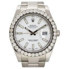 Rolex 116300 Datejust II Stainless Steel White Dial Diamond Watch