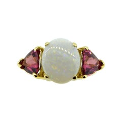 14k Yellow Gold Genuine Natural Opal and Pink Tourmaline Ring '#J4417'