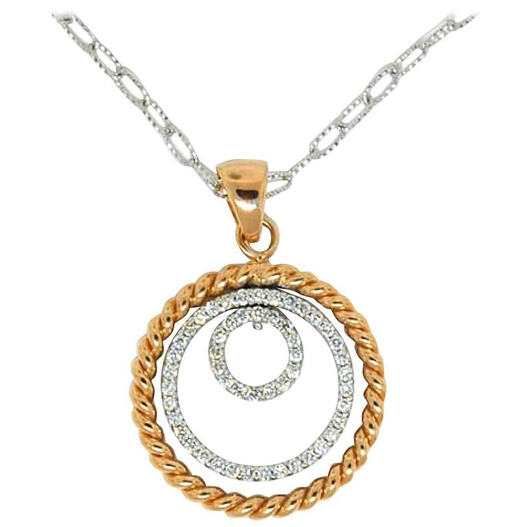 Diamond Gold 3 Row Circle Necklace For Sale