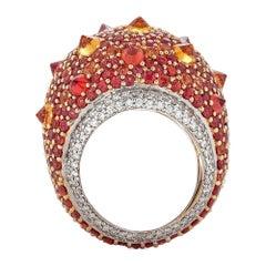 Piranesi Reverse Set Rhapsody Ring with 12.88 Orange Sapphire