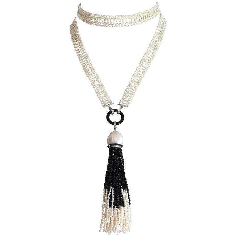 Marina J Seed Pearl Onyx Spinel Diamond Gold Sautoir Tassel Necklace