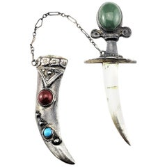 Sterling Silver Jade, Carnelian and Turquoise Sword and Sheath Pin/Brooch
