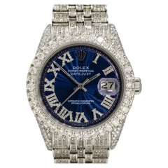 Rolex 1601 Datejust Stainless Steel All Diamond Blue Dial Watch