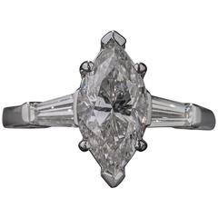 1.84 Carat Marquise Cut Diamond Platinum Ring