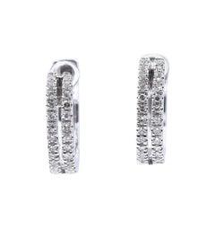 14 Karat White Gold Double Row Diamond Huggie Hoop Earrings