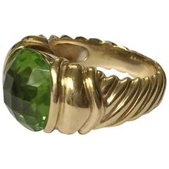David Yurman faceted Peridot gold Ring
