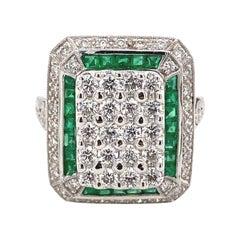 Art Deco Inspired Diamonds and Emeralds Ring 18 Karat White Gold