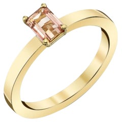 0.26 Carat Emerald-Cut Precious Topaz Yellow Gold Stackable Solitaire Band Ring