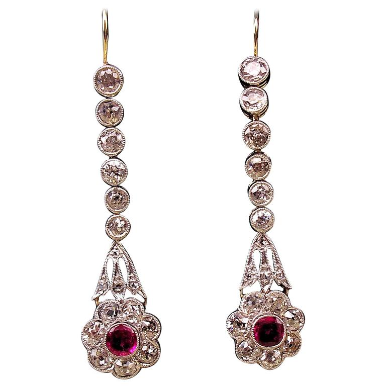 Austrian Art Nouveau Diamond Gold 585 Rubies Eardrops circa 1900 Drop Earrings 1