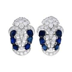 Art Deco 3.78 Carat Sapphire and 4.21 Carat Diamond Platinum Earrings 1940s