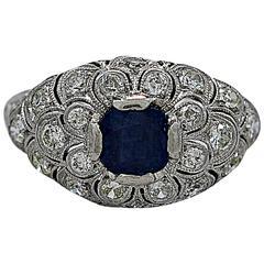 Art Deco Sapphire Diamond Platinum Engagement Ring