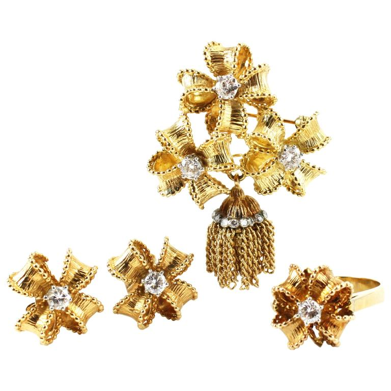 Tiffany & Co. Diamond 18K Yellow Gold Pendant Brooch Earrings and Ring Set