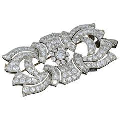 Art Deco Diamond Gold Brooch Pendant