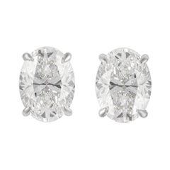 Alexander GIA 5.41 Carat Oval D Color Diamond Stud Earrings 18 Karat White Gold