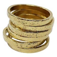 22k Gold Hammered Stacking Rings
