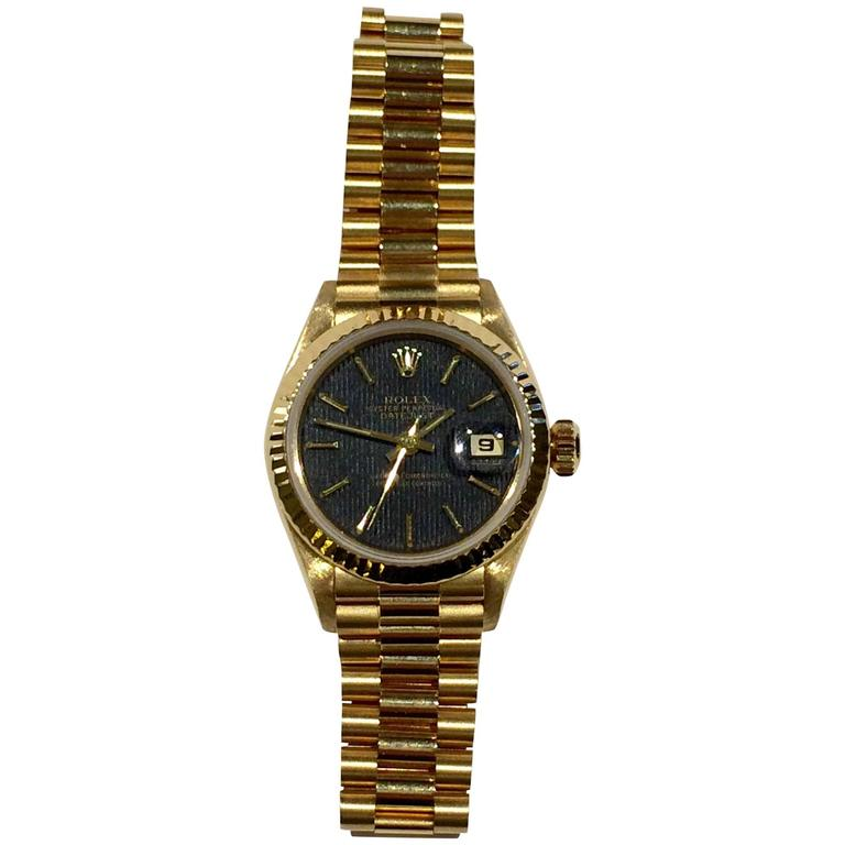 Rolex Yellow Gold Datejust President automatic Wristwatch Ref 69178