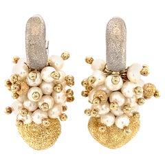 1940s Italian Seed Pearl Earrings in 14 Karat Two Tone Gold