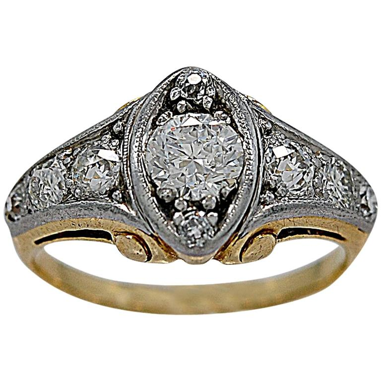 deco 60 carat two color gold engagement ring at 1stdibs