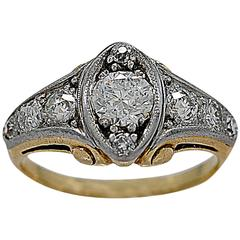 Art Deco .60 Carat Diamond Two Color Gold Engagement Ring