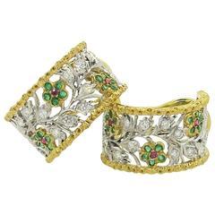 Buccellati Emerald Ruby Diamond Two Color Gold Hoop Flower Earrings