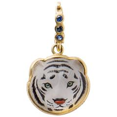 White Crystal Tiger Head Pendant