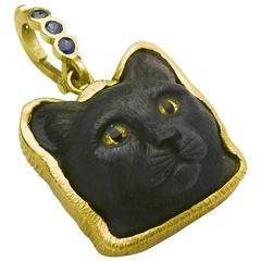 Black Obsidian Gold Cat Pendant