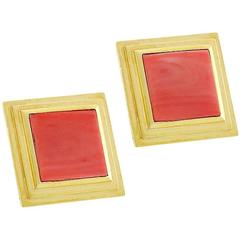 Elegant 1970s Square Cut Coral Gold Earrings