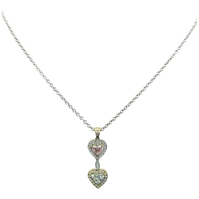 Framed Double Heart Diamond Pendant