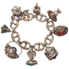 Vintage Chunky Eight-Charm Bracelet in Sterling Silver