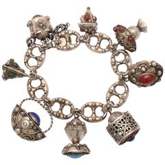 Delightful Eight-Charm Bracelet in Sterling Silver
