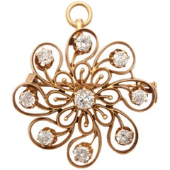 Antique Art Nouveau Diamond Floral Pendant, circa 1915