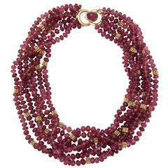 Cartier Faceted Pink Tourmaline Gold Torsade Necklace