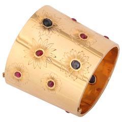 Sumptuous Ruby Sapphire Gold Cuff Bracelet