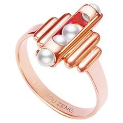 Melody Small Ring 18 Karat Rose Gold Pearls