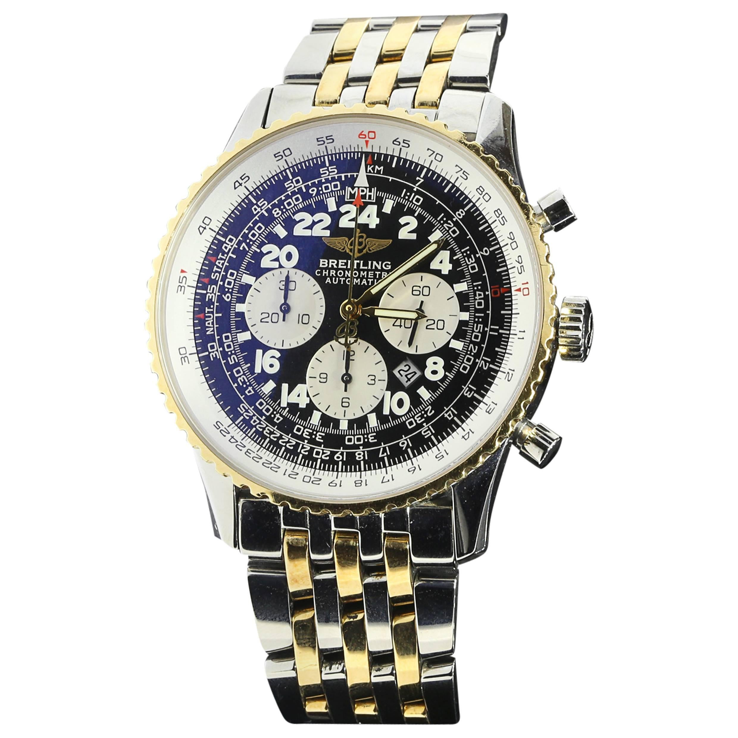 Breitling Yellow Gold Stainless Steel Cosmonaute Navitimer Two Tone Wristwatch