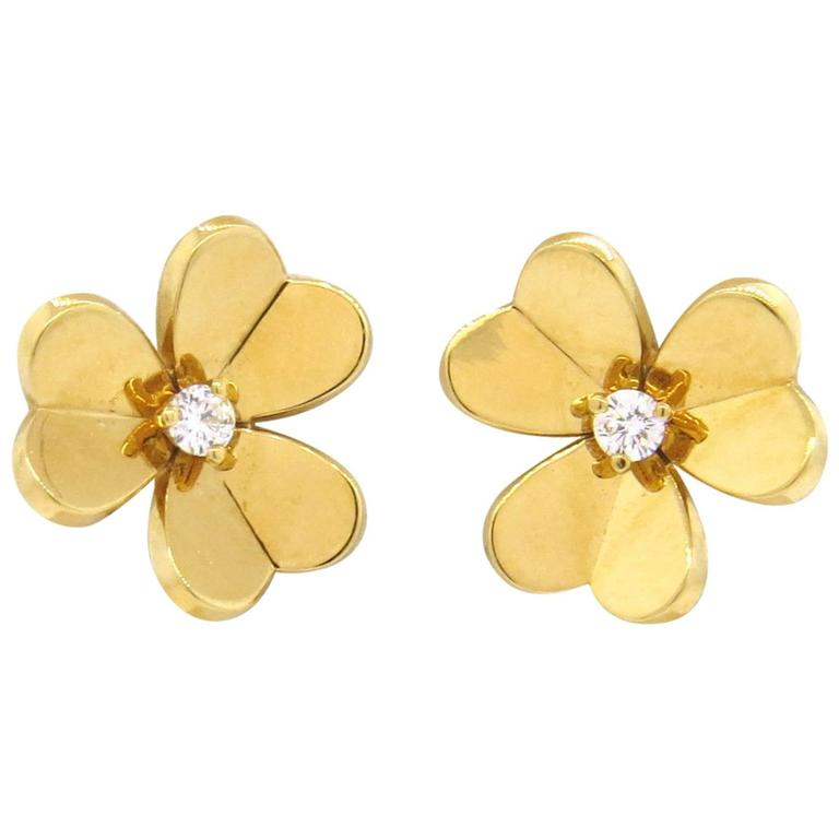 Van Cleef and Arpels Frivole Diamond Gold Flower Earrings at 1stdibs 3050845d7