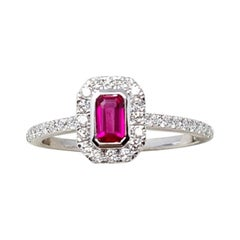 0.28 Ct Ruby 0.31 Ct Diamonds 18kt White Gold Engagement Ring or Solitaire Ring