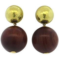 Tiffany & Co. Paloma Picasso Gold Wood Ball Drop Earrings