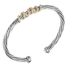 David Yurman Helena Center Station Bracelet with Diamonds & Gold B13209DS8ADI