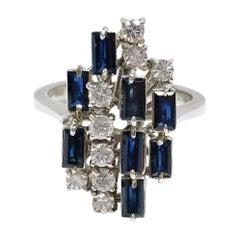 18 Karat Diamond Blue Sapphire Emerald-Cut Ring