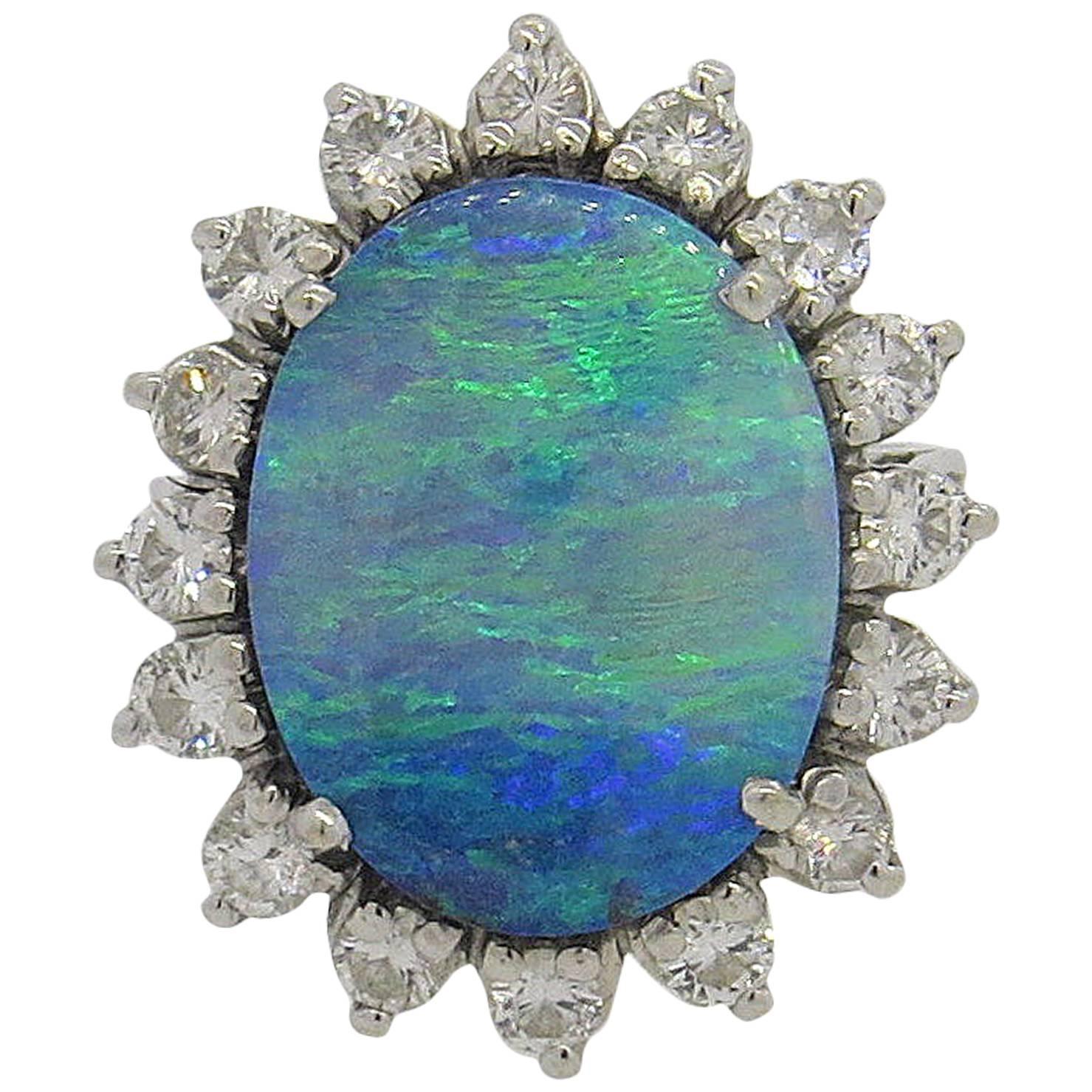 Gold Diamond Black Opal Ring at 1stdibs
