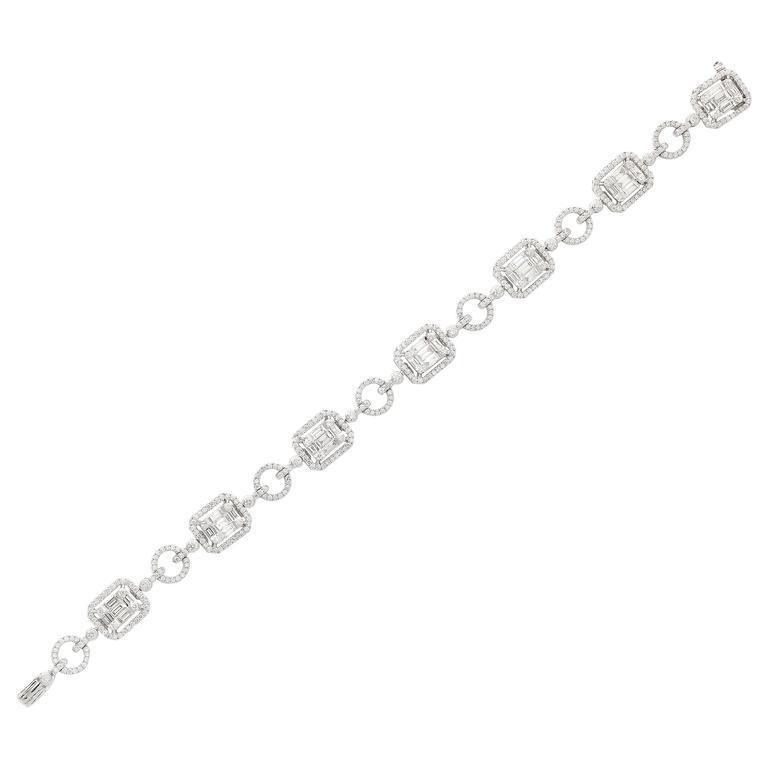 Baguette and Round Diamond Gold Bracelet