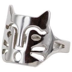"""2001 Anna Gili """"Felis Maya"""" silver ring"""