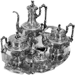 Boulenger Fabulous French All Sterling Silver Tea & Coffee Service 5 pc Putti